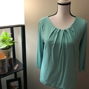 Talbots Petite Teal Long Sleeve Blouse